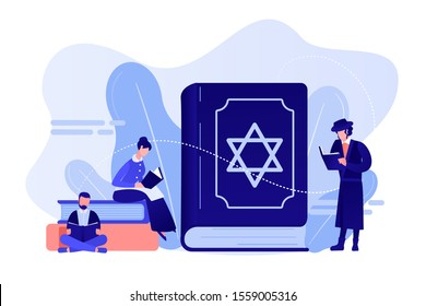 Jews in national costumes reading about religion, Torah, tiny people. Torah Judaism holy book, Jewish Beliefs on Jesus, orthodox Judaism concept. Pinkish coral bluevector isolated illustration
