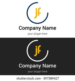 JF business logo icon design template elements. Vector color sign.