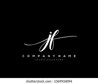 JF handwriting initial  logo vector