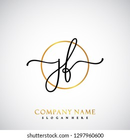 JF Initial Handwriting logo template vector