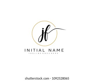 JF Initial handwriting logo vector. Hand lettering for designs.