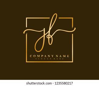 JF Initial handwriting square minimalist logo vector