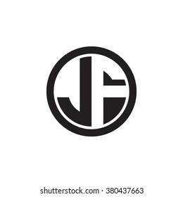 JF initial letters circle monogram logo