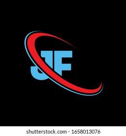 JF J F letter logo design. Initial letter JF linked circle upercase monogram logo red and blue. JF logo, JF design