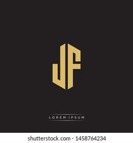 JF J F Logo Emblem Hexagon Capital Letter Modern Template