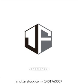JF Logo Initial Monogram Negative Space Design Template With Black and Grey color
