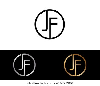 Jf Logo. Letter Design Vector with Red and Black Gold Silver Colors