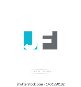 JF Logo Letter with Modern Negative space - Light Blue and Grey Color EPS 10