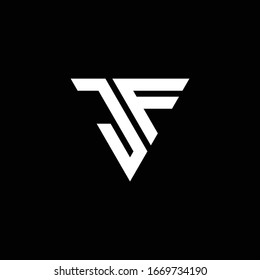 JF Logo letter monogram with triangle shape design template isolated on black background