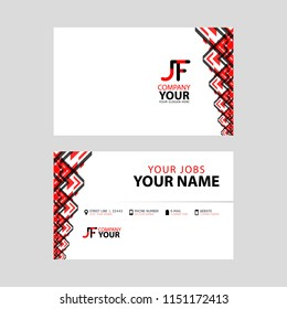 The JF logo on the red black business card with a modern design is horizontal and clean. and transparent decoration on the edges.