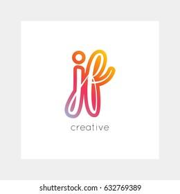 JF logo, vector. Useful as branding, app icon, alphabet combination, clip-art.