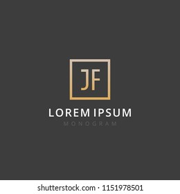 JF. Monogram of Two letters J & F. Luxury, simple, stylish and elegant JF logo design. Vector illustration template.