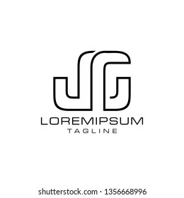 JG abstract  minimalist  geometric monogram letter logotype