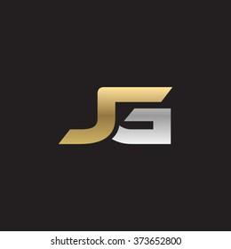 JG company linked letter logo golden silver black background