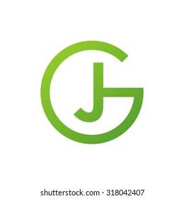 JG GJ initial company circle G logo green
