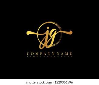 JG initial handwriting logo circle template vector