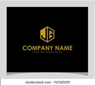 JG initial letter logo design