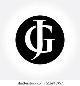 JG initial letters inside circle, monogram logo