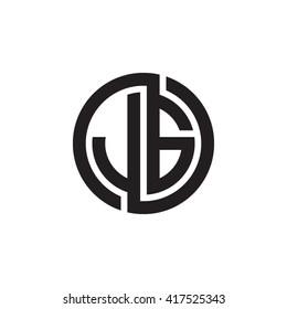 JG initial letters looping linked circle monogram logo