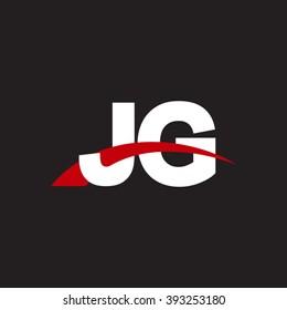 JG initial overlapping swoosh letter logo white red black background