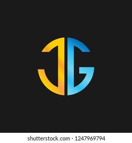 JG or J G letter alphabet logo design in vector format.