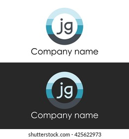 JG letter a circle shape icon logo white blue