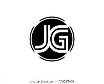 JG letter logo round black
