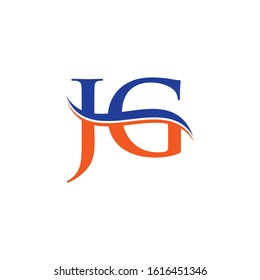 JG letter Type Logo Design Blue, Orange With White Background. Initial JG logo Design