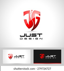JG Letters Design Logo. Creative abstract JG icon logo and business card template.