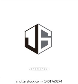 JG Logo Initial Monogram Negative Space Design Template With Black and Grey color