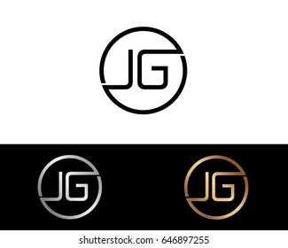 Jg Logo. Letter Design Vector with Red and Black Gold Silver Colors