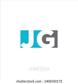 JG Logo Letter with Modern Negative space - Light Blue and Grey Color EPS 10