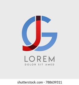 """JG logo letters with """"blue and red"""" gradation"""