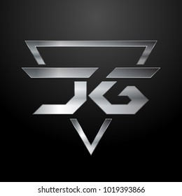 JG Logo, Metal Logo, Silver Logo, Monogram, Polygon