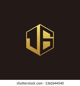 JG Logo Monogram with Negative space gold colors