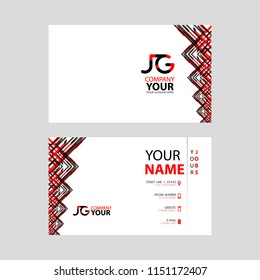 The JG logo on the red black business card with a modern design is horizontal and clean. and transparent decoration on the edges.