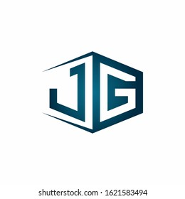 JG monogram logo with hexagon shape and negative space style ribbon design template