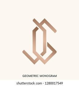 JG monogram logo.Typographic sign with intertwined letter J and letter G.Geometric style icon in rose gold metallic color isolated on light background.
