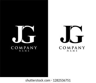 jg/gj initial company name logo template vector