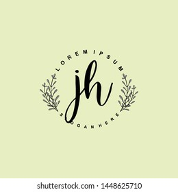 JH Initial beauty floral logo template