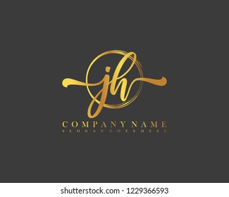 JH initial handwriting logo circle template vector