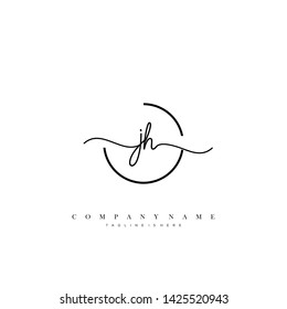 JH initial handwriting logo template vector