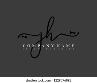 JH Initial handwriting logo vector