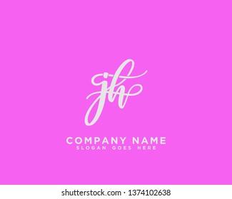 JH Initial Handwriting Logo Vector