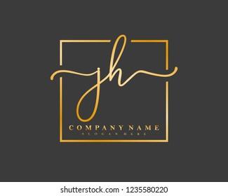 JH Initial handwriting square minimalist logo vector