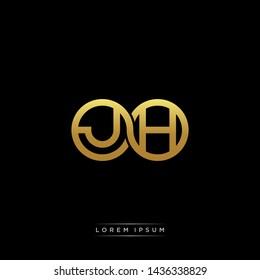 JH initial letter linked circle capital monogram logo modern template