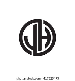 JH initial letters looping linked circle monogram logo
