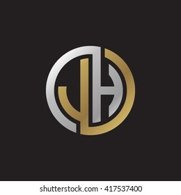 JH initial letters looping linked circle elegant logo golden silver black background