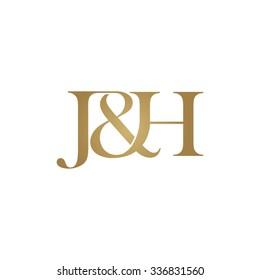 J&H Initial logo. Ampersand monogram golden logo