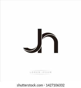jh j h Initial Letter Split Lowercase Modern Monogram linked outline rounded logo